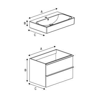 Комплект шкафчик и умывальник KUBIKO - Схема 1