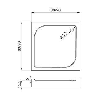 Душевой поддон DOMIO квадратный