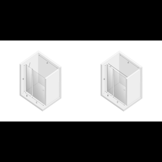 Дверь в нишу NEW SOLEO с полустенкой (угловое крепление слева)